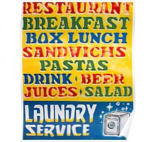 Vintage retro sign with shop tourist services Poster