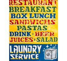 Vintage retro sign with shop tourist services Photographic Print