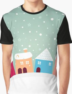 Christmas cute colorful village. Cartoon Graphic T-Shirt