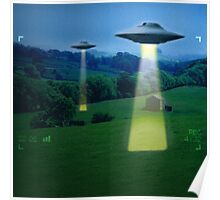 UFO in a meadow Poster
