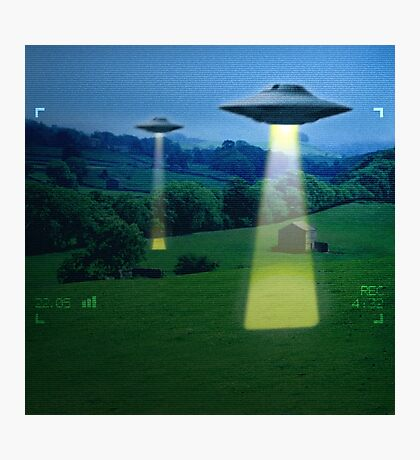 UFO in a meadow Photographic Print