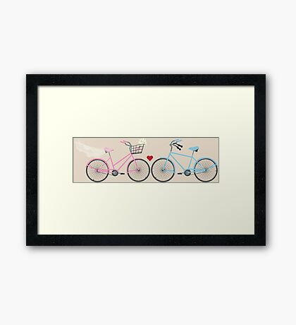 Two Bicycles Love Wedding Framed Print