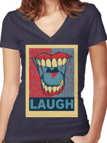LAUGH Women's Fitted V-Neck T-Shirt
