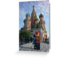 Lego Backpacker in Russia Greeting Card
