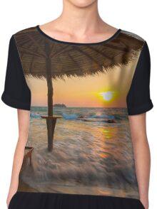 Empty beach with straw umbrella on sunrise Chiffon Top
