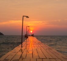 Pier and sunrise in Koh Rong Island Sticker