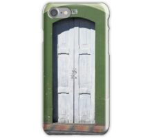 White Door in a Green Frame iPhone Case/Skin