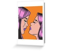 Pink Hair Crying Comic Girl Twins Greeting Card