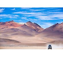 Off-road vehicle driving in the Atacama desert, Bolivia Photographic Print