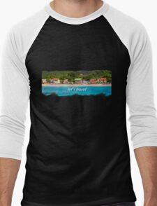 Sandy Beach on Sea Coast Men's Baseball ¾ T-Shirt