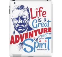 Life Adventure Spirit Theodore Roosevelt Red Blue iPad Case/Skin