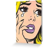 Blonde Crying Comic Girl Greeting Card
