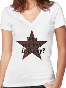 Who the hell is Bucky? Ver. 1 Women's Fitted V-Neck T-Shirt