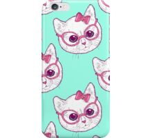 Kawaii kitty with glasses iPhone Case/Skin