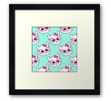 Kawaii kitty with glasses Framed Print