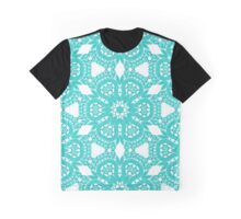 Blue Ocean Lace Pattern Graphic T-Shirt