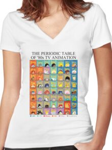 The Periodic Table of 80s TV animation Women's Fitted V-Neck T-Shirt