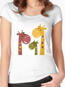 Beautiful Giraffes isolated on White Women's Fitted Scoop T-Shirt