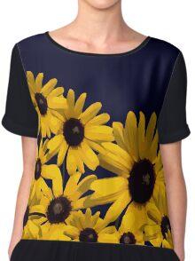 Beautiful Yellow Abstract Flowers  Chiffon Top