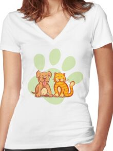 Cat and dog Women's Fitted V-Neck T-Shirt