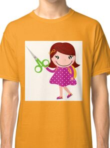 Cute happy child with shears. Cartoon illustration Classic T-Shirt