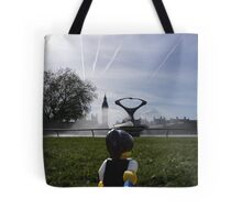 The lego backpacker hand in hand in london Tote Bag