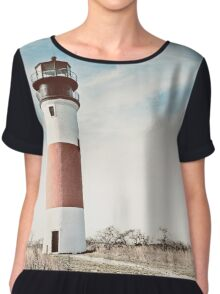 Sankaty Head Lighthouse on the island of Nantucket MA Chiffon Top