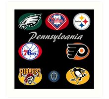 Pennsylvania Professional Sport Teams Collage  Art Print