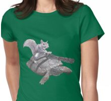 WACKY BACKYARD BATTLE ANIMAL SQUIRREL TURTLE GAMER GEEK WARFARE Womens Fitted T-Shirt
