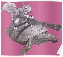 WACKY BACKYARD BATTLE ANIMAL SQUIRREL TURTLE GAMER GEEK WARFARE Poster