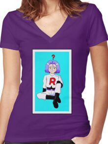 James is confused  Women's Fitted V-Neck T-Shirt