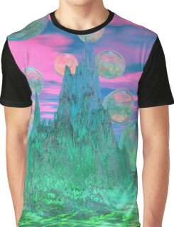 Poetic Mountain at Dawn, Glorious Pink Green Sky Graphic T-Shirt