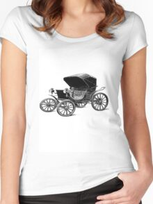 Old car carriage vintage, steampunk, old vehicle Women's Fitted Scoop T-Shirt