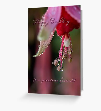 Fuchsia droplets birthday card Greeting Card
