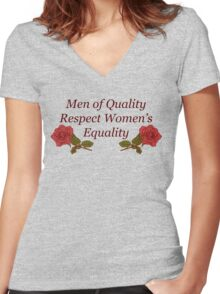 Men of Quality Respect Women's Equality Women's Fitted V-Neck T-Shirt