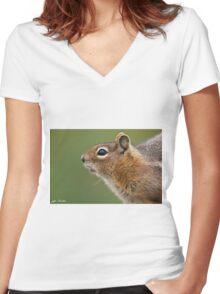 Golden Mantled Ground Squirrel Close Up Women's Fitted V-Neck T-Shirt
