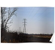 powerlines in a field Poster