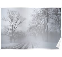 winter snow in the fog Poster