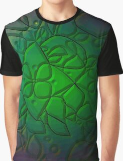 Embossed abstract Leaves and Flowers Graphic T-Shirt