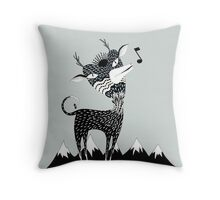 Singing Deer of the Shaggy Mountains Throw Pillow