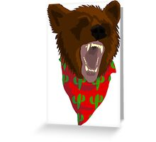 Angry Fiesta Bear White Greeting Card