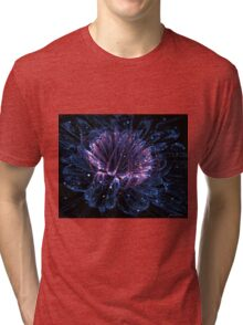 Shimmery blue night flower Tri-blend T-Shirt