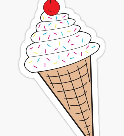 Vanilla Ice Cream Cone w/ Sprinkles Sticker