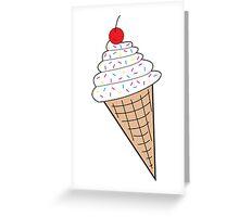 Vanilla Ice Cream Cone w/ Sprinkles Greeting Card