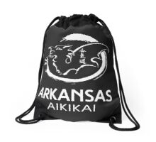 Arkansas Aikikai White logo and other products Drawstring Bag