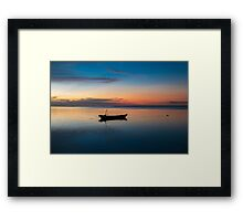 Sunset with fisher boat and still water on Gili Air Island, Indonesia Framed Print