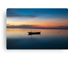Sunset with fisher boat and still water on Gili Air Island, Indonesia Canvas Print