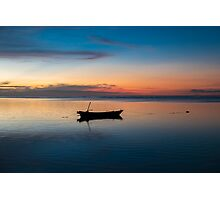 Sunset with fisher boat and still water on Gili Air Island, Indonesia Photographic Print