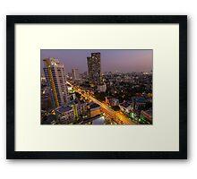Aerial view of Bangkok at twilight night, Thailand Framed Print