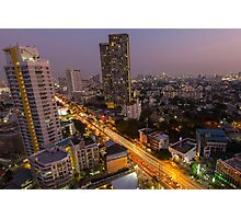 Aerial view of Bangkok at twilight night, Thailand Photographic Print